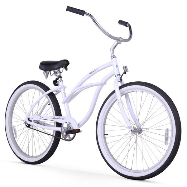 "26"" Firmstrong Aluminum Frame Urban Lady Alloy Single Speed Women's Beach Cruiser Bike, White"