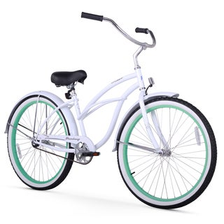 "26"" Firmstrong Urban Lady Boutique Single Speed Women's Beach Cruiser Bike, White with Mint Green Rims"