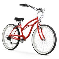 """26"""" Firmstrong Urban Lady Seven Speed Women's Beach Cruiser Bike, Red"""
