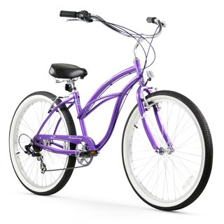 "26"" Firmstrong Urban Lady Seven Speed Women's Beach Cruiser Bike, Purple"
