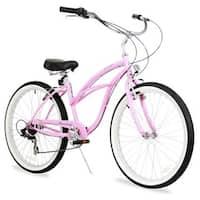 """26"""" Firmstrong Urban Lady Seven Speed Women's Beach Cruiser Bike, Pink"""