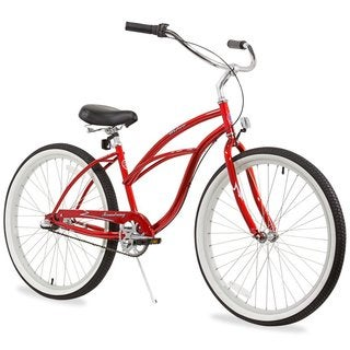 "26"" Firmstrong Urban Lady Three Speed Women's Beach Cruiser Bike, Red"