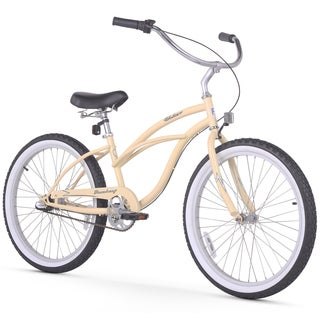 "24"" Firmstrong Urban Lady Three Speed Women's Beach Cruiser Bike, Vanilla"