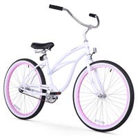 "26"" Firmstrong Urban Lady Limited Single Speed Women's Beach Cruiser Bike, White with Pink Rims"