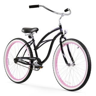 "26"" Firmstrong Urban Lady Limited Single Speed Women's Beach Cruiser Bike, Black with Pink Rims"