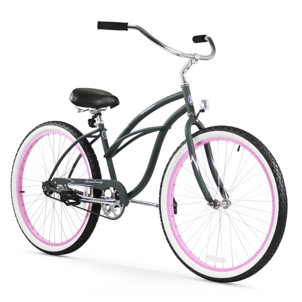 "26"" Firmstrong Urban Lady Limited Single Speed Women's Beach Cruiser Bike, Army Green with Pink Rims"