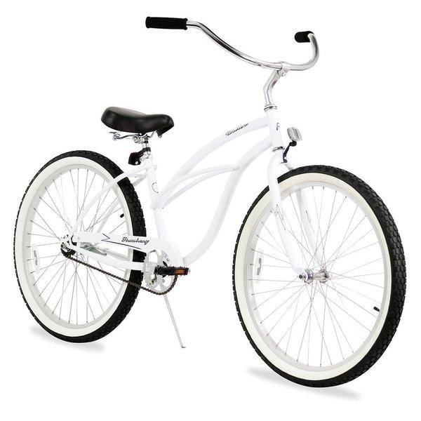 "26"" Firmstrong Urban Lady Single Speed Women's Beach Cruiser Bike, White"