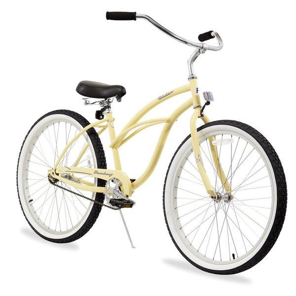 "26"" Firmstrong Urban Lady Single Speed Women's Beach Cruiser Bike, Vanilla"