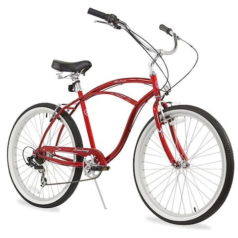 """26"""" Firmstrong Urban Man Seven Speed Beach Cruiser Bicycle, Red"""