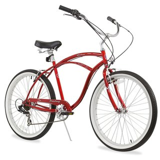 "26"" Firmstrong Urban Man Seven Speed Beach Cruiser Bicycle, Red"