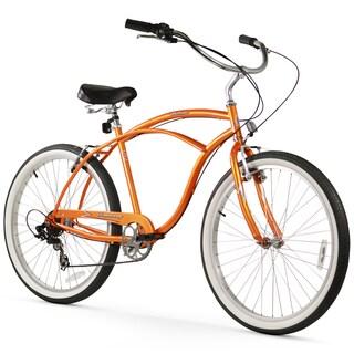 "26"" Firmstrong Urban Man Seven Speed Beach Cruiser Bicycle, Orange"