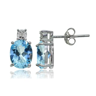 Glitzy Rocks Sterling Silver Blue Topaz and Diamond Accent Oval Drop Stud Earrings