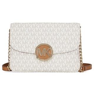 Michael Kors Fulton Signiture Vanilla Flap Gusset Crossbody Handbag