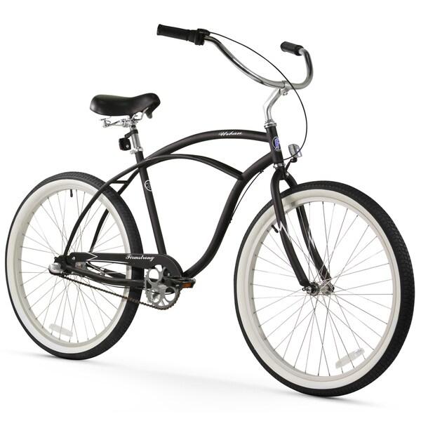 "26"" Firmstrong Urban Man Seven Speed Beach Cruiser Bicycle, Matte Black"