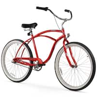 "26"" Firmstrong Urban Man Three Speed Beach Cruiser Bicycle, Red"