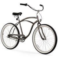 "26"" Firmstrong Urban Man Three Speed Beach Cruiser Bicycle, Matte Grey"