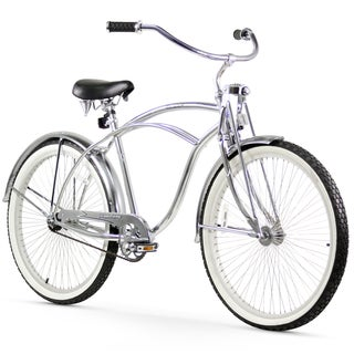 "26"" Firmstrong Urban Man LRD Single Speed Beach Cruiser Bicycle, Chrome"