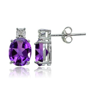 Glitzy Rocks Sterling Silver African Amethyst and Diamond Accent Oval Drop Stud Earrings