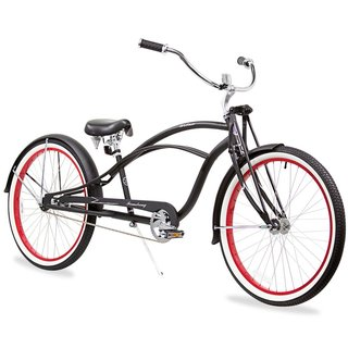 "26"" Firmstrong Urban Man Deluxe Single Speed Stretch Beach Cruiser Bicycle, Matte Black with Red Rims"