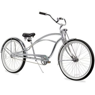 "26"" Firmstrong Urban Man Deluxe Single Speed Stretch Beach Cruiser Bicycle, Chrome"