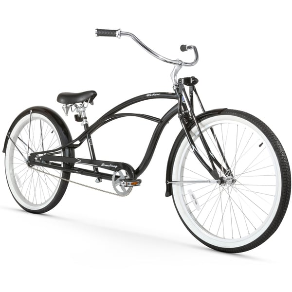 """26"""" Firmstrong Urban Man Deluxe Single Speed Stretch Beach Cruiser Bicycle, Black"""