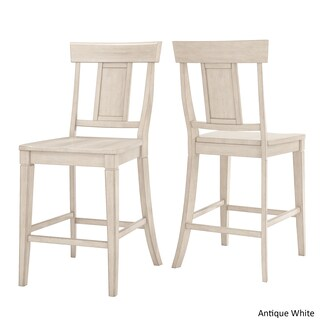 Eleanor Panel Back Wood Counter Chair (Set of 2) by iNSPIRE Q Classic (Option: Antique White)