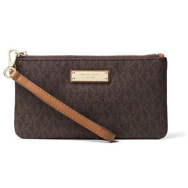 bb07017a339615 Shop Michael Kors Signature Jet Set Item Medium Brown Wristlet - Free  Shipping Today - Overstock - 15676840
