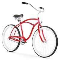 "26"" Firmstrong Urban Man Single Speed Beach Cruiser Bicycle, Red"