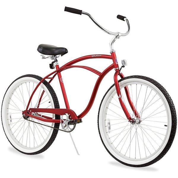 "26"" Firmstrong Urban Man Single Speed Beach Cruiser Bicycle, Matte Red"