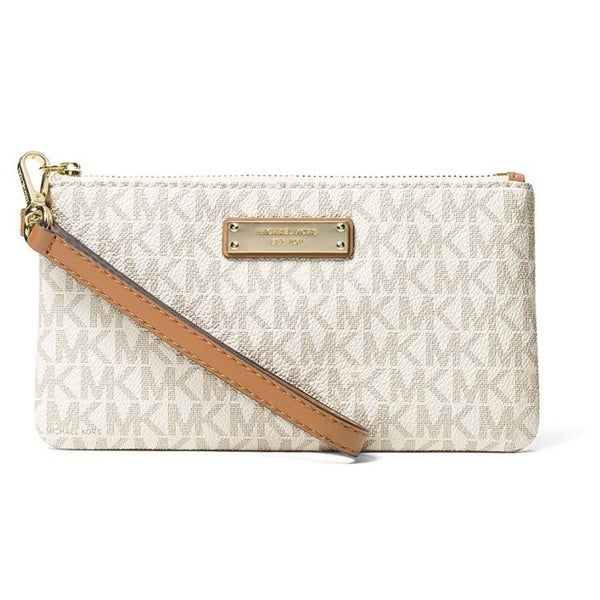 0e8c1701a25e Shop Michael Kors Signature Jet Set Item Medium Vanilla Wristlet - Free  Shipping Today - Overstock - 15676912