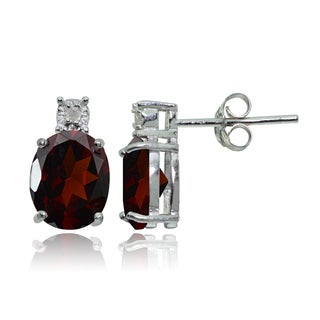 Glitzy Rocks Sterling Silver African Garnet and Diamond Accent Oval Drop Stud Earrings