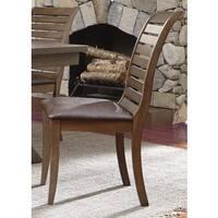 Bayside Washed Chestnut Slat Back Upholstered Side Chair