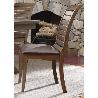 Bayside Washed Chestnut Slat Back Upholstered Side Chair