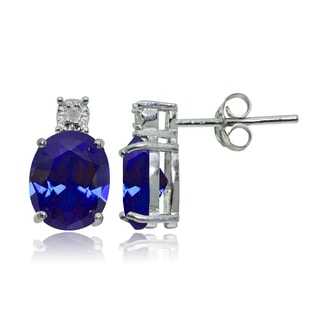 Glitzy Rocks Sterling Silver Created Blue Sapphire and Diamond Accent Oval Drop Stud Earrings