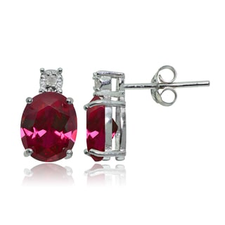 Glitzy Rocks Sterling Silver Created Ruby and Diamond Accent Oval Drop Stud Earrings