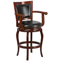 30'' High Wood Barstool with Bonded Leather Swivel Seat