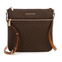 e60c2af0a384 Shop Michael Kors Bedford Signature Flat Brown Crossbody Bag - Free ...
