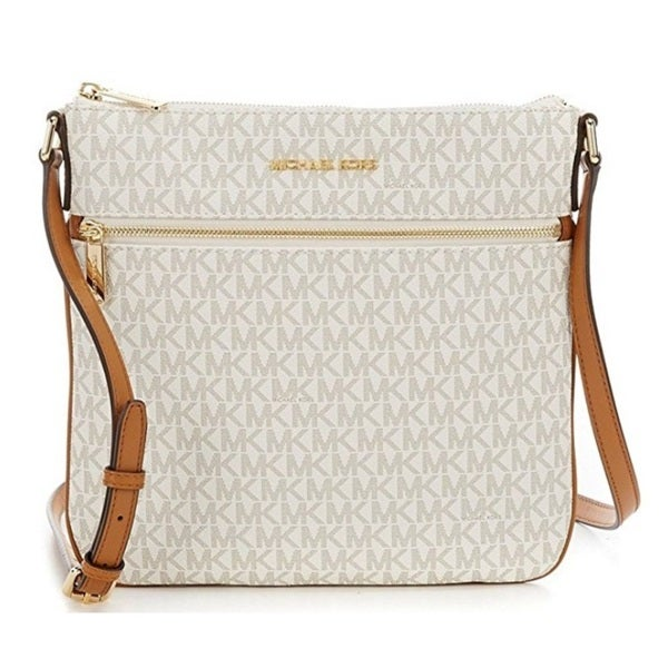 a2f4b05fb9247e Shop Michael Kors Bedford Signature Flat Vanilla Crossbody Bag - On Sale -  Free Shipping Today - Overstock - 15677473