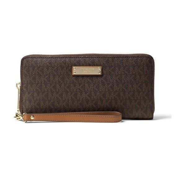 95b4eef6987675 Shop Michael Kors Jet Set Travel Brown Continental Wristlet Wallet - On  Sale - Free Shipping Today - Overstock - 15677564