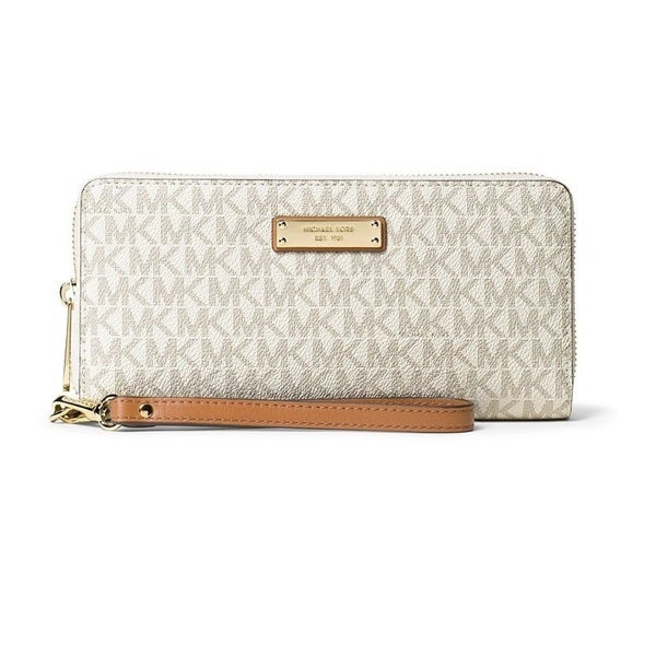 13338a64b022 Shop Michael Kors Jet Set Travel Vanilla Continental Wristlet Wallet ...
