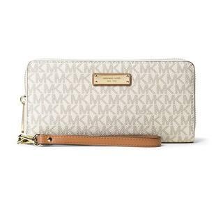3af554877f92 Michael Kors Jet Set Travel Vanilla Continental Wristlet Wallet