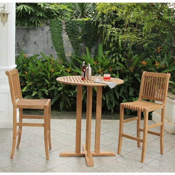 Shop Cambridge Casual Kokomo Teak Piece Bar Height Bistro Set - Teak bar height outdoor table