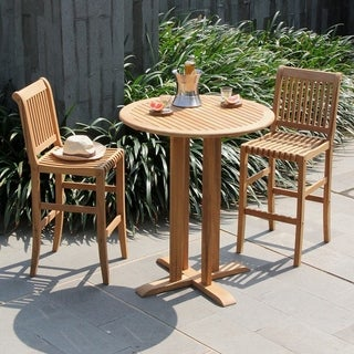 Cambridge Casual Kokomo Natural Teak 3 Piece Bar Height Bistro Set