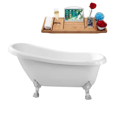 "61"" Streamline N480CH Soaking Clawfoot Tub and Tray With Internal Drain"