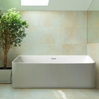 Streamline White Acrylic/Brass/Plastic 59-inch Soaking Wall Adjacent Apron Tub with Internal Drain