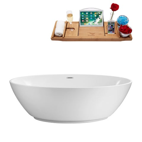Streamline 63-inch Soaking Freestanding Tub With Internal Drain