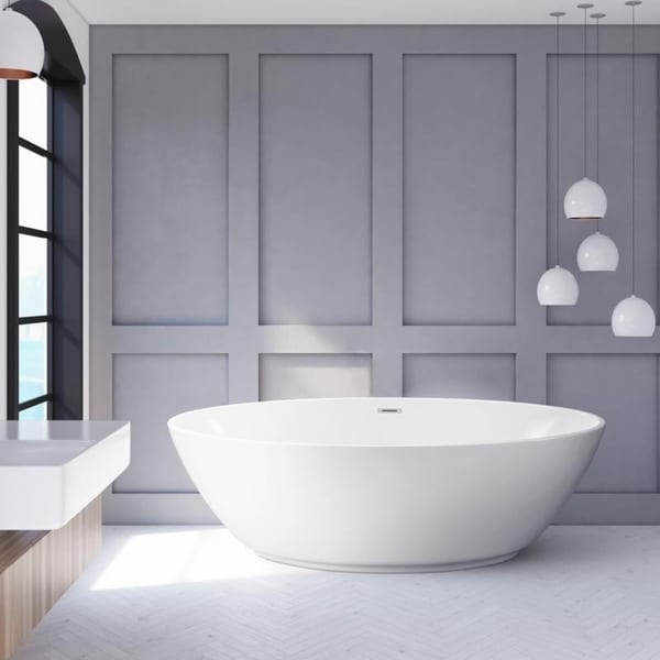 Streamline 63 Inch Soaking Freestanding Tub With Internal Drain
