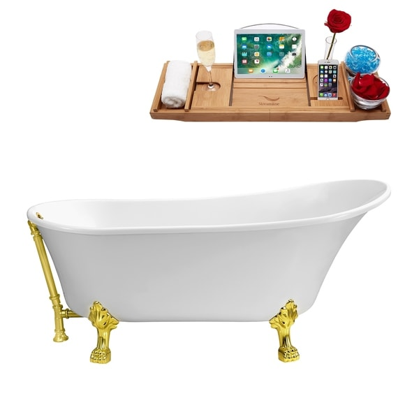 """67"""" Streamline N340GLD-GLD Soaking Clawfoot Tub and Tray With External Drain"""