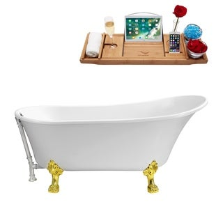 Streamline White 67-inch Soaking Clawfoot Tub with External Drain