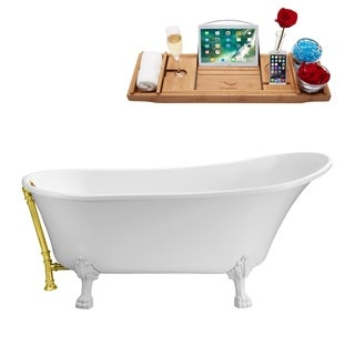 Streamline White and Gold 67-inch Soaking Clawfoot Tub with External Drain